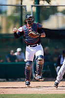 Atlanta Braves catcher Abrahan Gutierrez (46) throws the ball back to the pitcher during an Instructional League game against the Detroit Tigers on October 10, 2017 at the ESPN Wide World of Sports Complex in Orlando, Florida.  (Mike Janes/Four Seam Images)