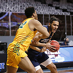 SIOUX FALLS, SD - MARCH 9: \Kevin Obanor #0 of the Oral Roberts Golden Eagles looks around Odell Wilson #32 of the North Dakota State Bison during the 2021 Men's Summit League Basketball Championship at the Sanford Pentagon in Sioux Falls, SD. (Photo by Richard Carlson/Inertia)