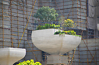 Shanghai, CHINA-11th April 2018: Shanghai Tian An Sunshine Peninsula, located in the Putuo District of Shanghai, is built along the 1,100 m bank of Suzhou River with a site area of approximately 82,752 sqm. This project, designed by British designer Thomas Heatherwick, is dubbed as 'hanging garden in Shanghai'. It has been re-planned as a commercial and entertainment complex.