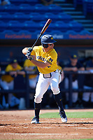 Michigan Wolverines center fielder Jonathan Engelmann (2) at bat during a game against Army West Point on February 17, 2018 at Tradition Field in St. Lucie, Florida.  Army defeated Michigan 4-3.  (Mike Janes/Four Seam Images)