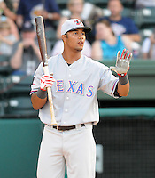 Outfielder Miguel Velazquez (50) of the Hickory Crawdads hits in the home run derby at the 2010 South Atlantic League All-Star Game on Tuesday, June 22, 2010, at Fluor Field at the West End in Greenville, S.C. Photo by: Tom Priddy/Four Seam Images
