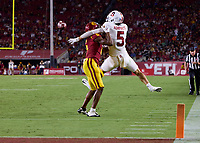 LOS ANGELES, CA - SEPTEMBER 11: Isaac Taylor-Stuart #6 of the USC Trojans is called for pass interference on a pass intended for John Humphreys #5 of the Stanford Cardinal during a game between University of Southern California and Stanford Football at Los Angeles Memorial Coliseum on September 11, 2021 in Los Angeles, California.