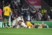 Anthony Watson of England shows how much his try means during Match 26 of the Rugby World Cup 2015 between England and Australia - 03/10/2015 - Twickenham Stadium, London<br /> Mandatory Credit: Rob Munro/Stewart Communications