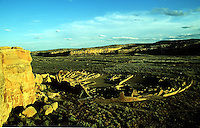 #!dcdisplay.\fp\\b0\\i0\\fs10\Date~19.09.2000; Shot=xxxx.xx.xx; Source=Local:Staff; Time~07:59; Type=Picture;.--------------------------------.\fs16\\b\CHACO CANYON\fs12\\b0\......Sunset light illuminates Peublo Bonito in Chaco Canyon National Culture Area located in central New Mexico south of Sante Fe but north of I-40... Archaeologist have long wondered and argued whether Chaco represented an evil empire perhaps sprung from the MesoAmerican cultures of South and Central America. One study today says Chaco housed thugs who enforced outlying pueblos to pay tribute under threat of death or worse being eaten.....\fp\\b0\\i0\\fs10\--------------------------------.\fp\\i0\\b\\fs16\Digital Collections/IPTC..\fp\\b0\\i0\\fs10\Photographer=Pk_Weis; .