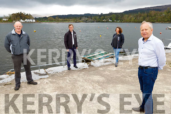 Kenmare Peninsula Action Group received €19,000 for a feasibility study for a community amenity in Kenmare, pictured at the pier in Kenmare. <br /> Front: Mickey Ned O'Sullivan Chairman Kenmare Peninsula Action Group).<br /> Back l to r: Donal O'Sullivan (KCC) and Sen Mark Daly and Helen McDwyer (Kenmare Marketing Events Group).