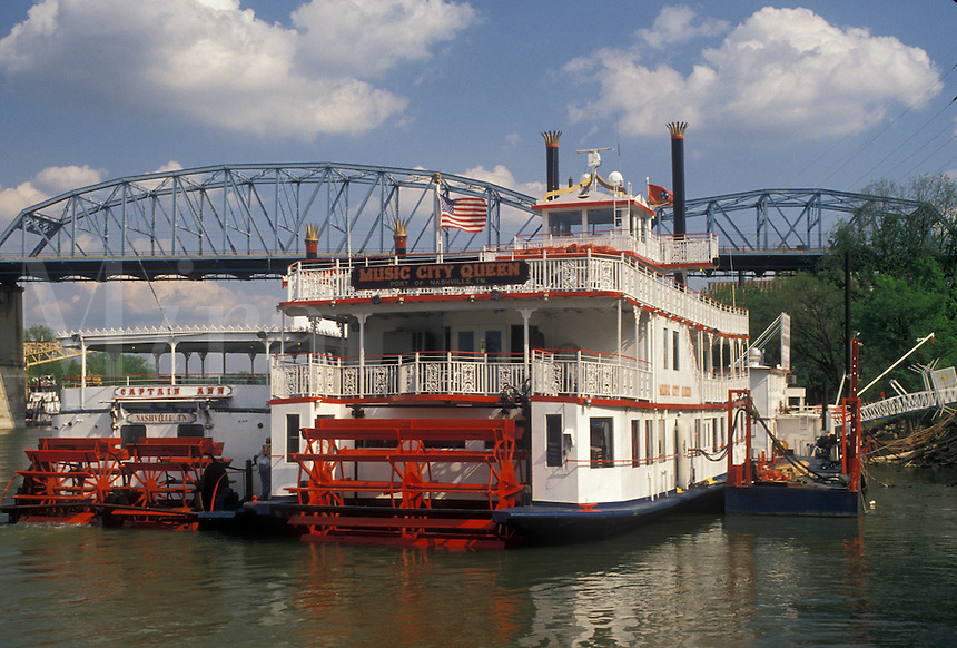 AJ4159, paddle wheeler, Nashville, River Front Park, Tennessee, Paddle-wheel cruise riverboats docked at River Front Park on the Cumberland River in Nashville in the state of Tennessee.