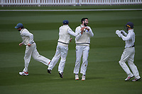 Will Somerville celebrates the dismissal of Devon Conway during day three of the Plunket Shield match between the Wellington Firebirds and Auckland Aces at the Basin Reserve in Wellington, New Zealand on Monday, 16 November 2020. Photo: Dave Lintott / lintottphoto.co.nz