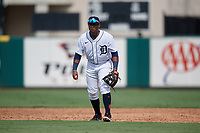 Detroit Tigers second baseman Alvaro Gonzalez (27) during a Florida Instructional League game against the Pittsburgh Pirates on October 16, 2020 at Joker Marchant Stadium in Lakeland, Florida.  (Mike Janes/Four Seam Images)