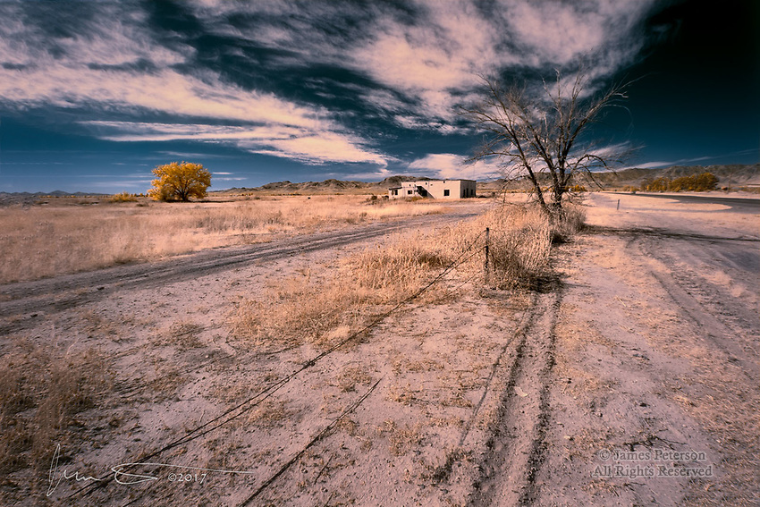 Sad Times on Fort Grant Road (Infrared) ©2017 James D Peterson.  Times are hard in southeastern Arizona's Sulphur Springs Valley, as this abandoned home near Willcox would attest.