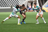 Sunday 19 October 2014<br /> Pictured: Ospreys centre Andrew Bishop gets tackled by Treviso centre Enrico Bacchin.<br /> Re: Ospreys v Treviso, Heineken Champions Cup at the Liberty Stadium, Swansea