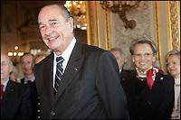 MICHELE ALLIOT- MARIE & JACQUES CHIRAC. JACQUES CHIRAC INAUGURE LE MUSEE DE LA LEGION D' HONNEUR APRES SA RESTAURATION. #