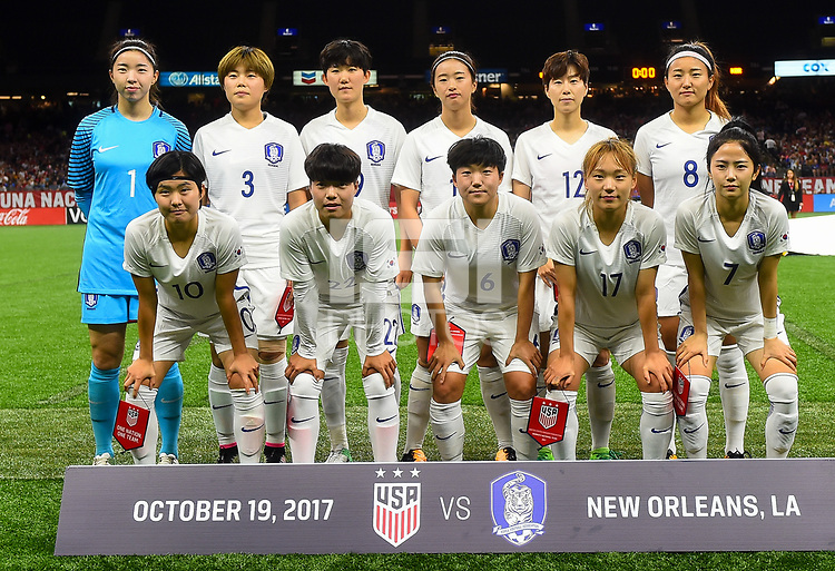 New Orleans, LA - Thursday October 19, 2017: South Korea starting eleven during an International friendly match between the Women's National teams of the United States (USA) and South Korea (KOR) at Mercedes Benz Superdome.