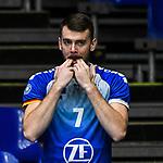21.11.2020, Zeppelin CAT Halle A1, Friedrichshafen, GER, DVL, VfB Friedrichshafen vs Berlin Recycling Volleys,<br /> im Bild Rares Balean (Friedrichshafen, #7) feuert seine Mitspieler an<br /> <br /> Foto © nordphoto / Hafner