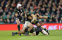 Saturday 11th November 2017; Ireland vs South Africa<br /> Damian de Allende is tackled by Robbie Henshaw and Peter O'Mahony during the Guinness Autumn Series between Ireland and South Africa at the Aviva Stadium, Lansdowne Road, Dublin, Ireland.  Photo by DICKSONDIGITAL