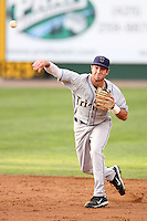 Tri-City Dust Devils shortstop Taylor Featherston #14 during a game against the Everett Aquasox at Everett Memorial Stadium on August 13, 2011 in Everett,Washington. Everett defeated Tri-City 6-4.(Larry Goren/Four Seam Images)