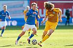 20.02.2021, xtgx, Fussball 3. Liga, FC Hansa Rostock - SV Waldhof Mannheim, v.l. Nik Omladic (Hansa Rostock, 21) am Ball<br /> <br /> (DFL/DFB REGULATIONS PROHIBIT ANY USE OF PHOTOGRAPHS as IMAGE SEQUENCES and/or QUASI-VIDEO)<br /> <br /> Foto © PIX-Sportfotos *** Foto ist honorarpflichtig! *** Auf Anfrage in hoeherer Qualitaet/Aufloesung. Belegexemplar erbeten. Veroeffentlichung ausschliesslich fuer journalistisch-publizistische Zwecke. For editorial use only.