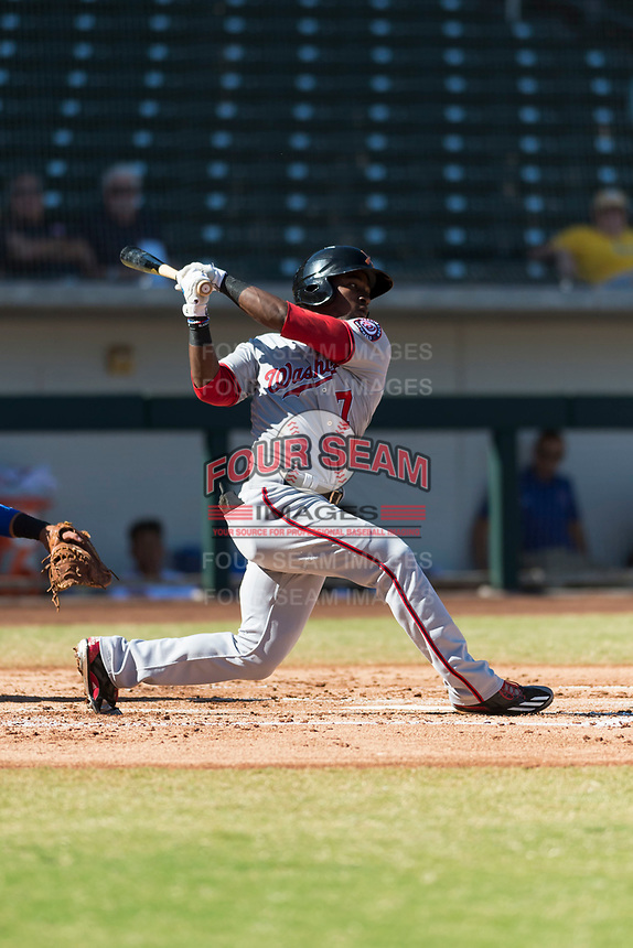 Salt River Rafters center fielder Daniel Johnson (7), of the Washington Nationals organization, follows through on his swing during an Arizona Fall League game against the Mesa Solar Sox at Sloan Park on October 30, 2018 in Mesa, Arizona. Salt River defeated Mesa 14-4 . (Zachary Lucy/Four Seam Images)