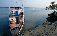 INDIA West Bengal, boat in Sundarbans the delta of river Ganges / Indien, Westbengalen, Boot im Flussdelta des Ganges, Sunderbans