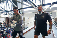 SAN JOSE, CA - AUGUST 8: JT Marcinkowski #1 of the San Jose Earthquakes and San Jose Earthquakes goalkeeper coach Carlos Roa before a game between Los Angeles FC and San Jose Earthquakes at PayPal Park on August 8, 2021 in San Jose, California.