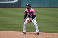 Charlotte Knights second baseman Marco Hernandez (11) on defense against the Gwinnett Stripers at Truist Field on May 9, 2021 in Charlotte, North Carolina. (Brian Westerholt/Four Seam Images)