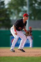 Batavia Muckdogs third baseman Nic Ready (51) during a NY-Penn League game against the Auburn Doubledays on June 19, 2019 at Dwyer Stadium in Batavia, New York.  Batavia defeated Auburn 5-4 in eleven innings in the completion of a game originally started on June 15th that was postponed due to inclement weather.  (Mike Janes/Four Seam Images)