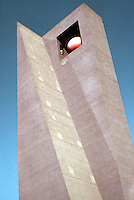 Los Angeles: Pershing Square--Ricardo Legorreta's Pylon--Campanile. (Sort of evocative of '39 World's Fair, but purple--and fading.)
