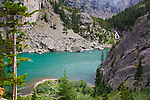Aqua color of Rimrock Lake in the Beartooth Wilderness in Montana. Waterfalls of East Rosebud Creek as it flows into Rimrock Lake