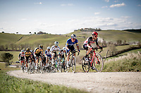 Tosh Van der Sande (BEL/Lotto Soudal) leading the way<br /> <br /> 15th Strade Bianche 2021<br /> ME (1.UWT)<br /> 1 day race from Siena to Siena (ITA/184km)<br /> <br /> ©kramon