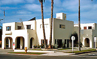 Irving Gill: Fire Station, Oceanside, CA. 714 Pier View Way. Built in 1929. Mission style.Photo '86.