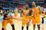 Herbalife Gran Canaria's player Pablo Aguilar, Bo McCalebb and Richard Hendrix during the final of Supercopa of Liga Endesa Madrid. September 24, Spain. 2016. (ALTERPHOTOS/BorjaB.Hojas)