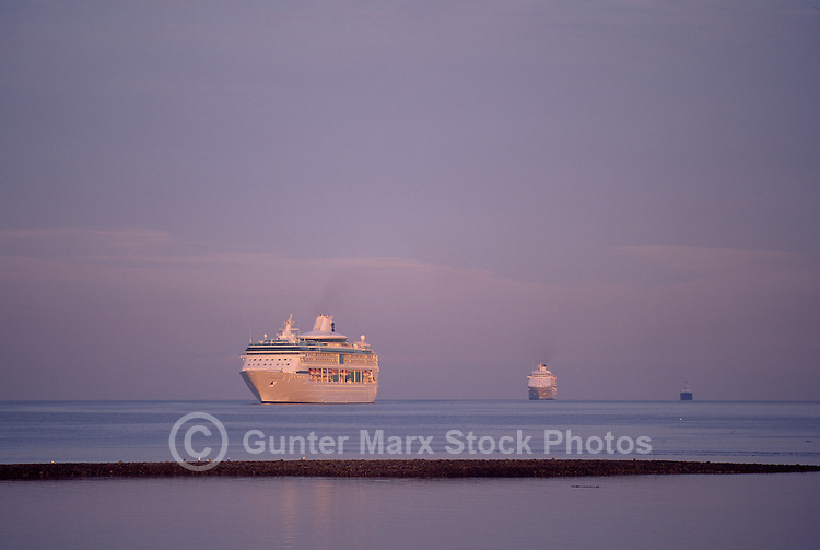 Three Cruise Ships in Howe Sound, en route to Vancouver Harbour, British Columbia, Canada