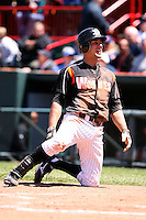 May 31, 2009:  Mike Hollimon of the Erie Seawolves reacts to being tagged out after attempting to score on what would have been an in the park home run during a game at Jerry Uht Park in Erie, NY.  The Seawolves are the Eastern League Double-A affiliate of the Detroit Tigers.  Photo by:  Mike Janes/Four Seam Images
