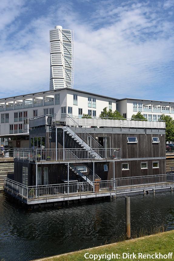 Hausboot am Westhafen,  Malmö, Provinz Skåne (Schonen), Schweden, Europa<br /> House boat at Westport in Malmö, Sweden