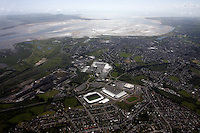 The new Scarlets rugby ground, Parc Y Scarlets at Parc Trostre Llanelli overlooking Loughor Estuary<br />