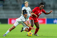 ORLANDO, FL - FEBRUARY 21: Eliana Stabile #3 of Argentina fights for the ball with Deanne Rose #6 of Canada during a game between Canada and Argentina at Exploria Stadium on February 21, 2021 in Orlando, Florida.