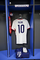 BELFAST, NORTHERN IRELAND - MARCH 28: USMNT locker room, Christian Pulisic #10 of the United States before a game between Northern Ireland and USMNT at Windsor Park on March 28, 2021 in Belfast, Northern Ireland.