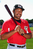 Tri-City ValleyCats outfielder Brandon Meredith #36 poses for a photo before a game against the Batavia Muckdogs at Dwyer Stadium on July 15, 2011 in Batavia, New York.  Batavia defeated Tri-City 4-3.  (Mike Janes/Four Seam Images)