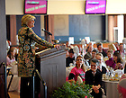 Feb. 12, 2011; Notre Dame alumna Anne Thompson, NBC News correspondent and breast cancer survivor, speaks at the 2011 Pink Zone Luncheon at Club Naimoli...Photo by Matt Cashore/University of Notre Dame