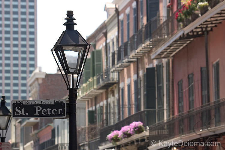 Royal Street at St. Peter Street in the French Quarter, New Orleans, LA - April 2006