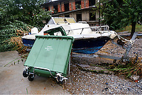 A refuse bin has collided with a speedboat on a trailer in Nea Mihaniona
