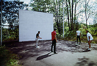 Breezy Knoll, Greenville, NY. Four men playing hand ball