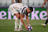 Cristiano Ronaldo of Juventus prepares to kick a penalty during the Champions League round of 16 second leg football match between Juventus FC and Lyon at Juventus stadium in Turin (Italy), August 7th, 2020. <br /> Photo Federico Tardito / Insidefoto