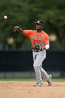 Houston Astros infielder Jose Fernandez (60) during an Instructional League game against the Atlanta Braves on September 22, 2014 at the ESPN Wide World of Sports Complex in Kissimmee, Florida.  (Mike Janes/Four Seam Images)