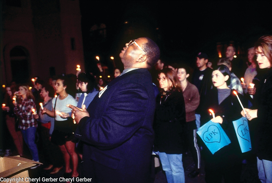 Vigil for three employees killed at the Louisiana Pizza Kitchen in the French Quarter, 1996