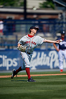 Portland Sea Dogs starting pitcher Matthew Kent (21) throws to first base during the first game of a doubleheader against the Reading Fightin Phils on May 15, 2018 at FirstEnergy Stadium in Reading, Pennsylvania.  Portland defeated Reading 8-4.  (Mike Janes/Four Seam Images)