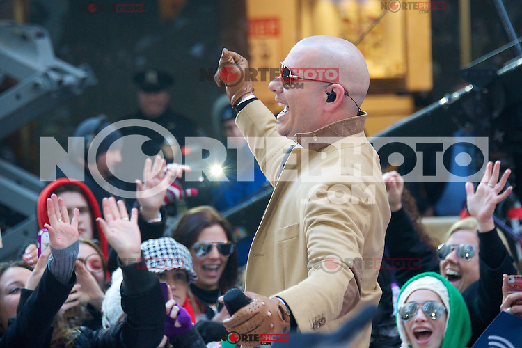 """NEW YORK, NY - NOVEMBER 21: Pitbull performs On NBC's """"Today Show"""" Thanksgiving Week Of Concerts on The Plaza at Rockefeller Center in New York City on November 20, 2012. Credit mpi44/MediaPunch Inc. /NortePhoto"""