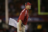6 October 2007: Head coach Jim Harbaugh is fired up after converting a 4th and 20 during Stanford's 24-23 win over the #1 ranked USC Trojans in the Los Angeles Coliseum in Los Angeles, CA. The catch was out of bounds.