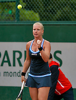 France, Paris, 27.05.2014. Tennis, French Open,Roland Garros, Kiki Bertens (NED) jubilates a point in her match against Alexandra Cadantu (ROU)<br /> Photo:Tennisimages/Henk Koster