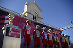 Cofidis at sign on before the start of Stage 8 of the 103rd edition of the Giro d'Italia 2020 running 200km from Giovinazzo to Vieste, Sicily, Italy. 10th October 2020.  <br /> Picture: LaPresse/Marco Alpozzi | Cyclefile<br /> <br /> All photos usage must carry mandatory copyright credit (© Cyclefile | LaPresse/Marco Alpozzi)