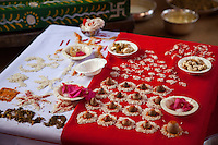 Jaipur, Rajasthan, India.  Offerings being Prepared for a Hindu Wedding Ceremony.